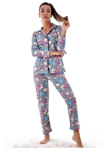 Pemilo Kadın 2023 Desenli Boydan Düğmeli Pijama Takımı GRİ Gri